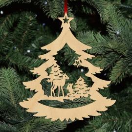 Fa karácsonyfadísz - őzikék
