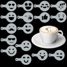 Cappuccino és kávé díszítő Emoji sablonok (16db)