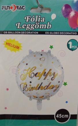 Happy Birthday fólia lufi- Fehér - Arany felirat