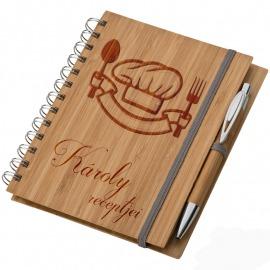 Bambusz füzet A5 + toll - Recept füzet