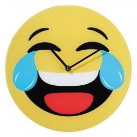 Smiley üveg falióra - sírva nevetős