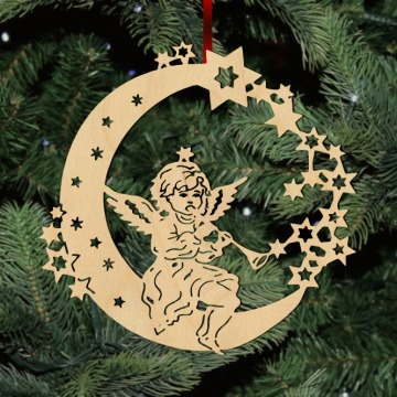 Fa karácsonyfadísz – Zenélő angyal Holdon
