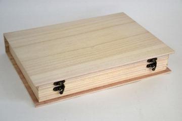 Fa tároló doboz könyv formájú