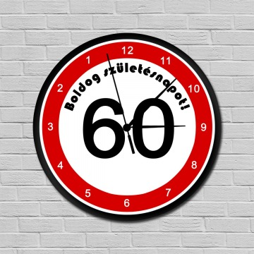 Fiatalító sebességkorlátozós falióra 60. születésnapra