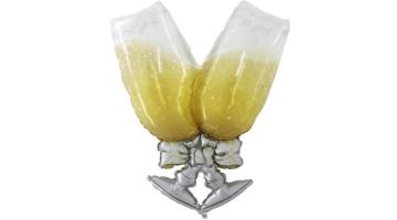 Pezsgőspoharak fólia lufi