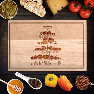 Vegán táplálkozási piramis vágódeszka - nagy