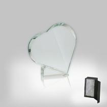 Üveg díj - szív alakú