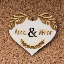 Esküvői köszönőajándék - Szív babér mintával