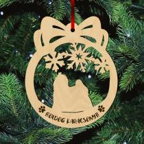 Fa karácsonyfadísz – Hosszú szőrű máltai selyemkutya