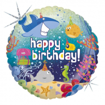 Happy Birthday - Tengeri világ fólia lufi