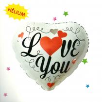 Szív formájú fólia lufi Love you felirattal