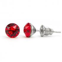 Swarovski kristályos pötty bedugós fülbevaló 6 mm - piros